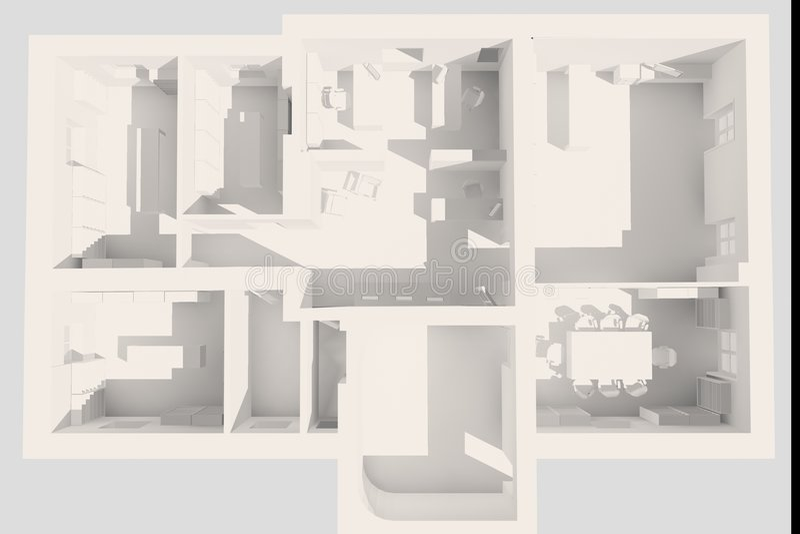 Büro 3D Plan lizenzfreie abbildung