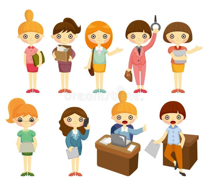Büro-Arbeitnehmerin-Ikonenset der Karikatur hübsches stock abbildung