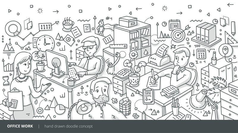 Büro-Arbeits-isometrisches Gekritzel-Konzept lizenzfreie abbildung
