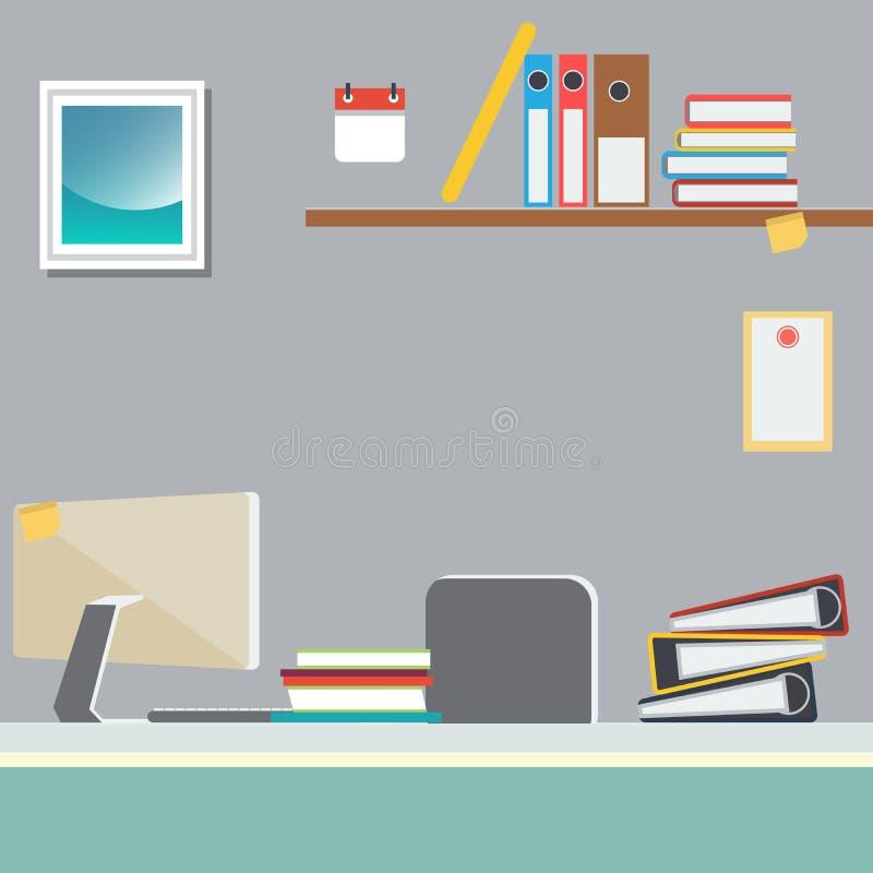 Büro-Arbeitsplatz mit Computer und Papierdokumenten vektor abbildung