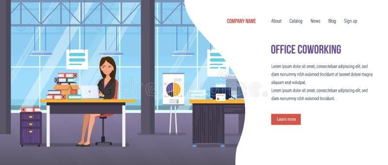 Büro Coworking, freiberuflich tätig, Bürorauminnenraum, gemeinsame Zusammenarbeit im Arbeitsplatz stock abbildung