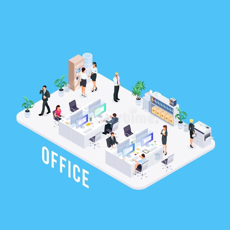 Büro 3d mit Arbeitskräften vektor abbildung