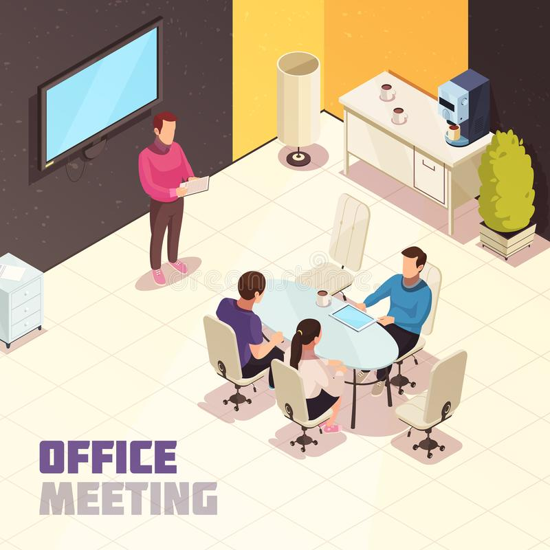 Büro, das isometrisches Plakat trifft stock abbildung