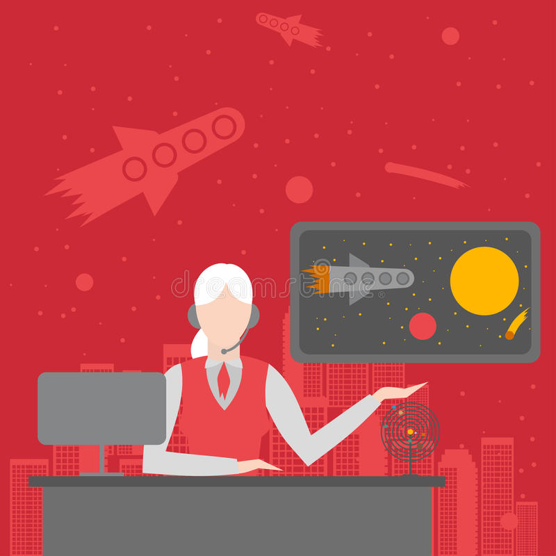Büro des zukünftigen Reisebüros Tourismusmanager cosmo der weiblichen Figur Kosmosreisesatz des Planeten, Erde, Bahnen, Rakete vektor abbildung