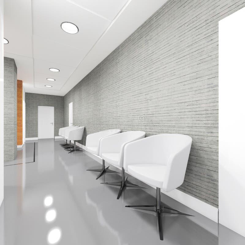 Büro-Eingangs-Bereichsinnenraum mit Lehnsessel stockbilder
