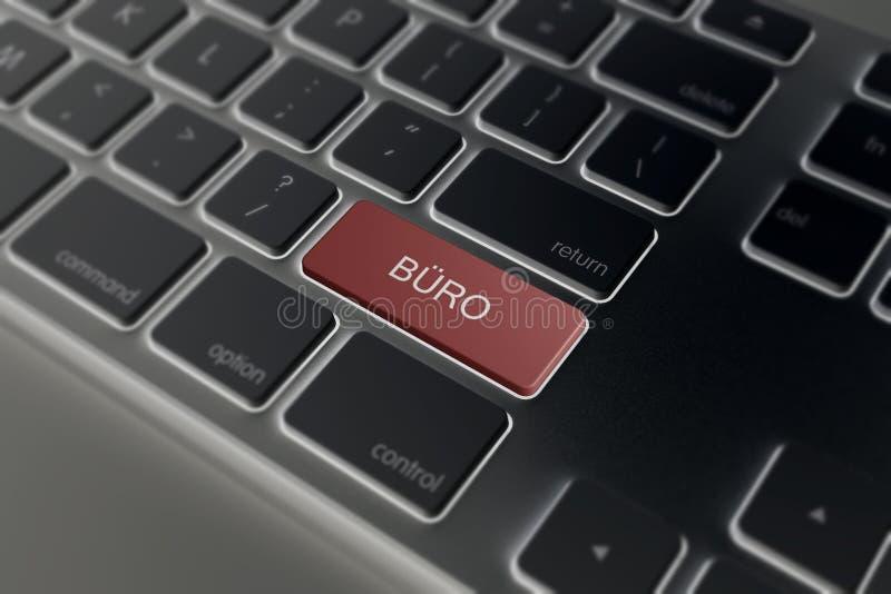Büro an ENTER-Taste der Tastatur stockfotografie