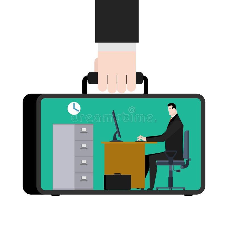 Büro falls beweglicher Arbeitsplatz im Koffer Manager bei der Arbeit B stock abbildung