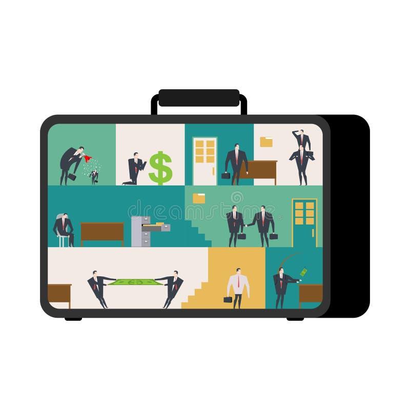 Büro falls beweglicher Arbeitsplatz im Koffer Manager, die O Arbeits sind stock abbildung