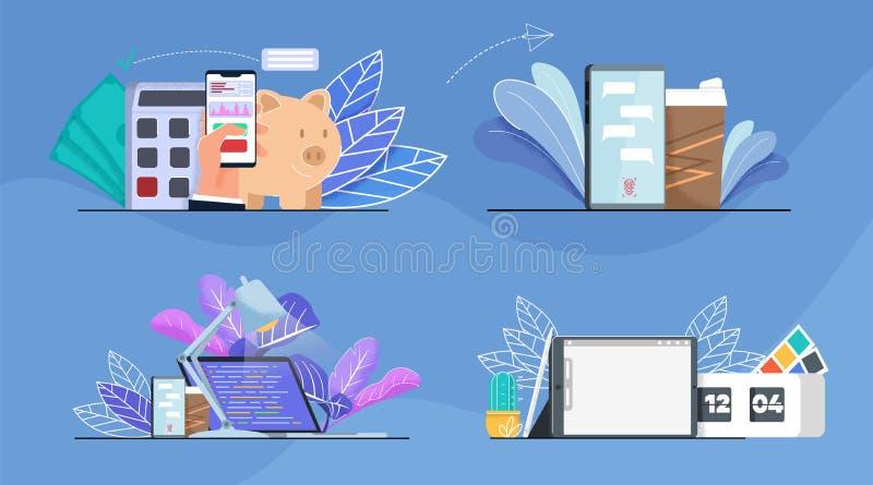Büro, Finanzanalyse und Zeit-Management-Satz vektor abbildung
