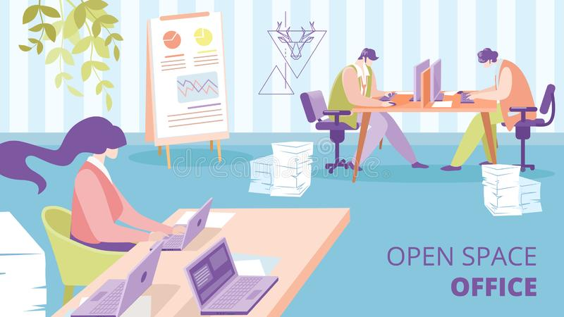 Büro-flache Vektor-Anzeigen-Fahnen-Schablone des offenen Raumes vektor abbildung