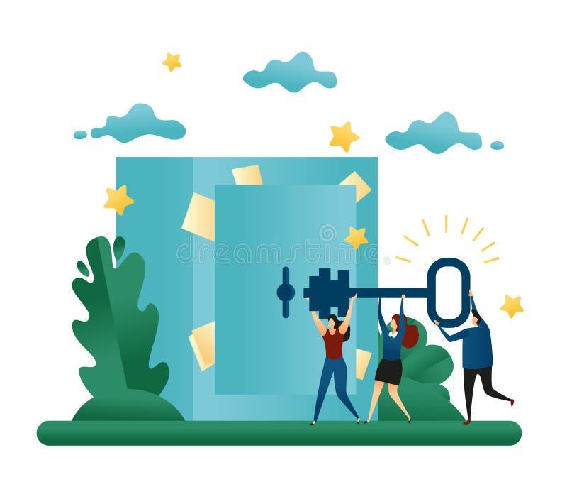 Büro-Genossenschafts-Teamwork Finden Sie eine Lösung zum Problem Gehen Sie zur Tresortür mit einem Schlüssel Konzept 3d stock abbildung