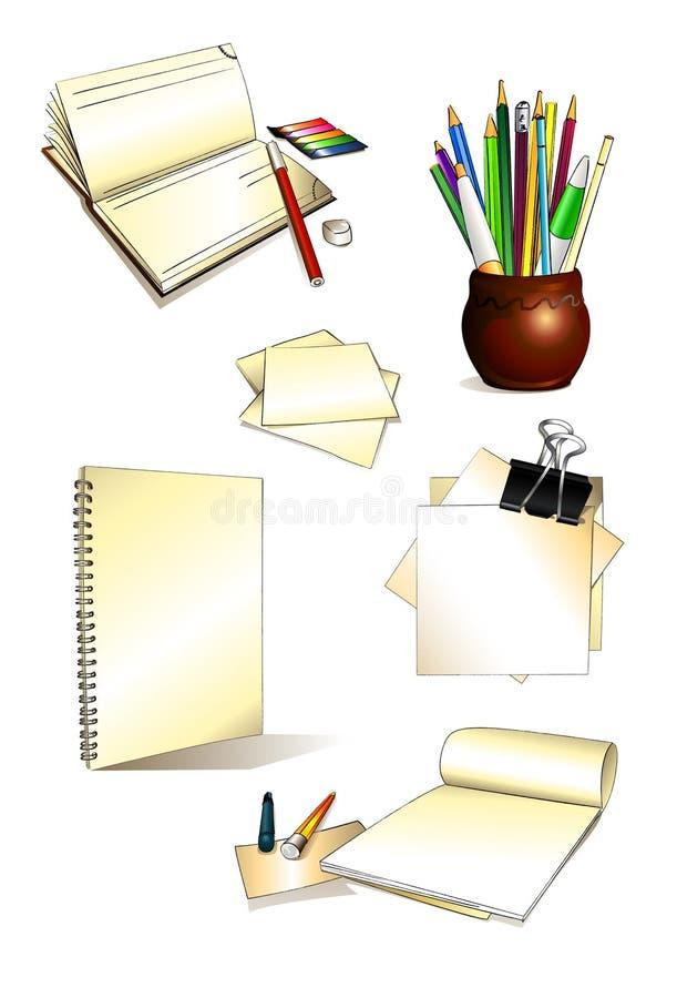 Büro-gesetzte Hand gezeichnet stockfotografie