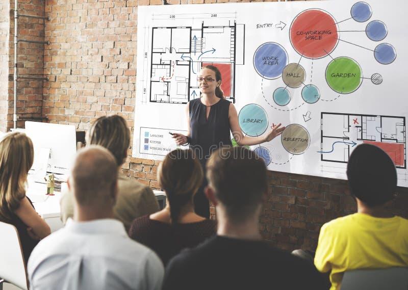 Büro-Grundriss-Skizzen-Zeichnungs-Konzept lizenzfreie stockfotos