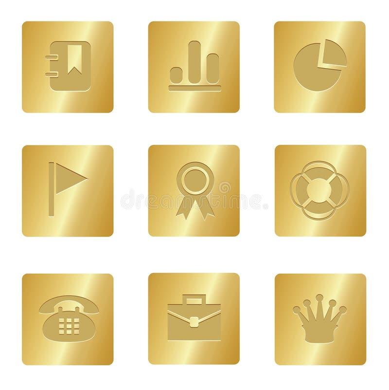 Büro-Ikonen | Bronzequadrat 04 stock abbildung