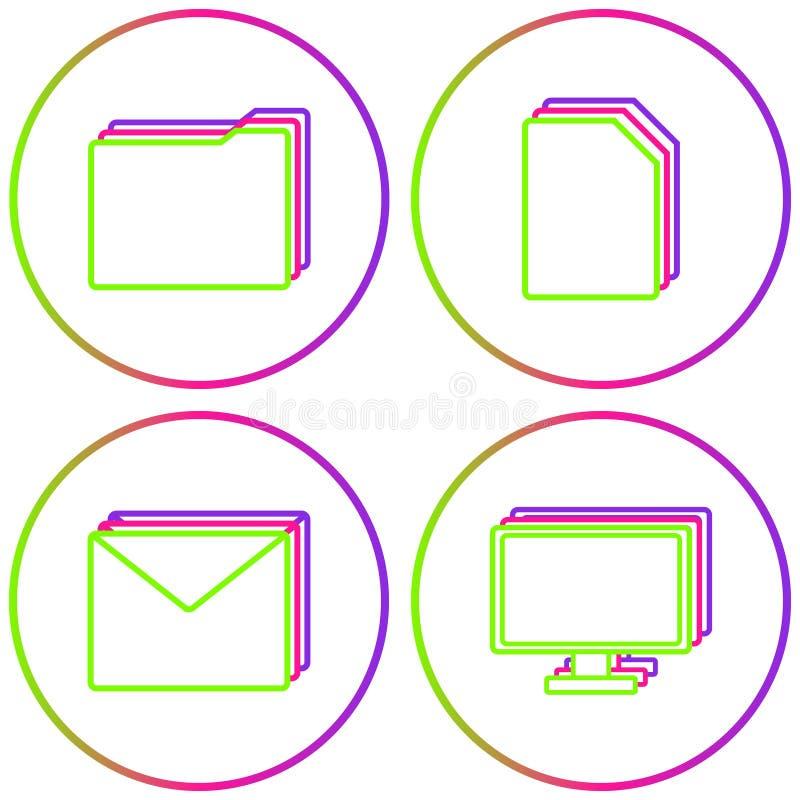 Büro-Ikonen-Vektor-Farbkreis-Netz-Satz lizenzfreie abbildung