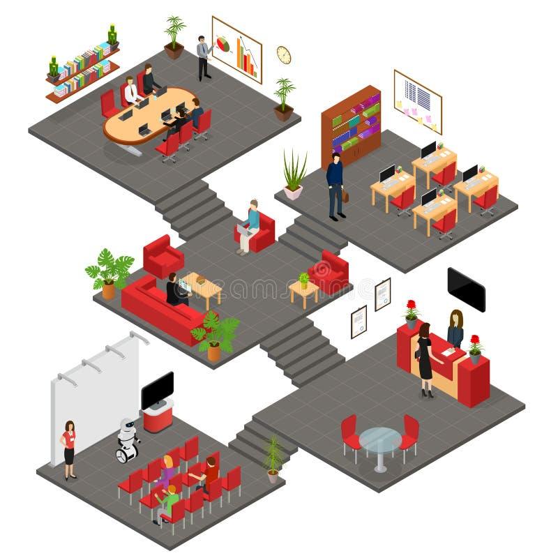 Büro-Innenraum mit isometrischer Ansicht des Möbel-Konzept-3d Vektor vektor abbildung
