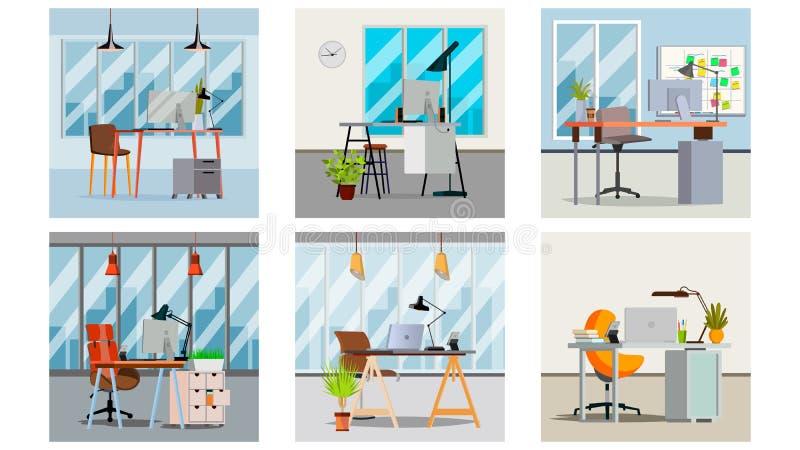 Büro-Innenraum-Vektor Innenbüro-Raum mit Möbel-Design Moderner Geschäftsarbeitsplatz Flache Illustration stock abbildung