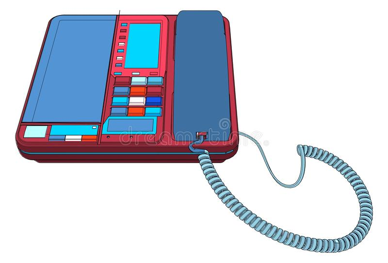Büro IP-Telefonapparat mit LCD-Vektor lizenzfreie abbildung