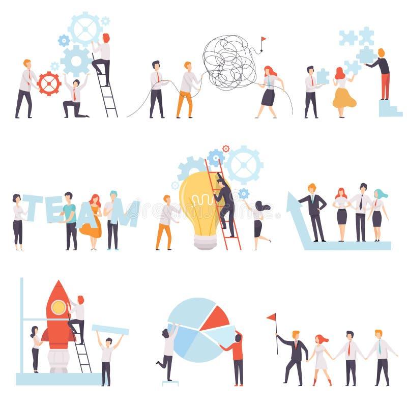 Büro-Kollegen, die gesetztes, Geschäfts-Team, Teamwork, Zusammenarbeit, Partnerschafts-Vektor-Illustration zusammenarbeiten stock abbildung