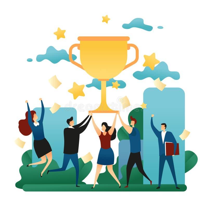 Büro-kooperativer Teamwork-Gewinn Sieg der glücklichen Menschen im Team Erster Platz im Geschäft mit einer Goldschale Geschäftsko stock abbildung