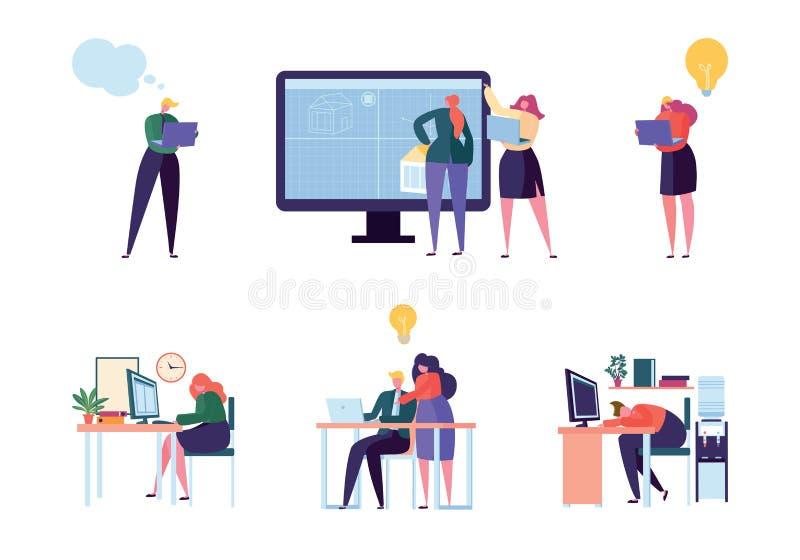 Büro-Leute-Charakter-Arbeits-Satz Mann-Frauen-Berufsangestellt-Team Unterschiedlicher Geschäftsmann Meeting am Laptop stock abbildung