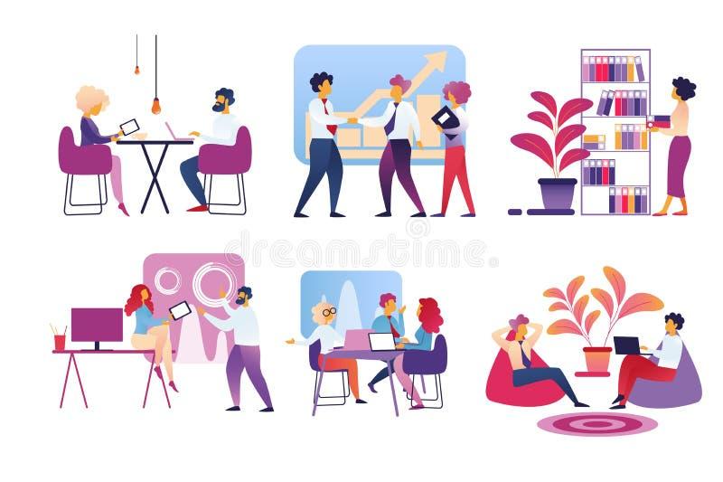 Büro-Leute-Leben lokalisiert auf weißem Hintergrund lizenzfreie abbildung