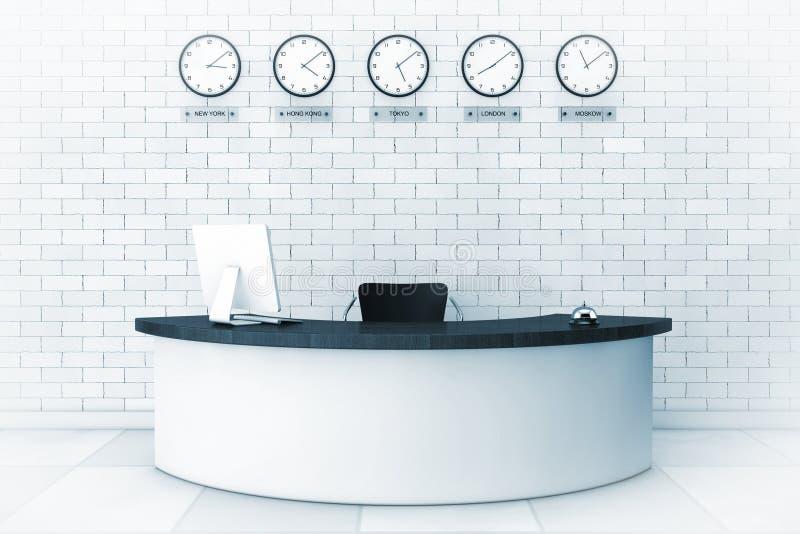 Büro-Lobby mit einem Aufnahme-Schreibtisch im blauen Schlüssel Wiedergabe 3d lizenzfreie abbildung