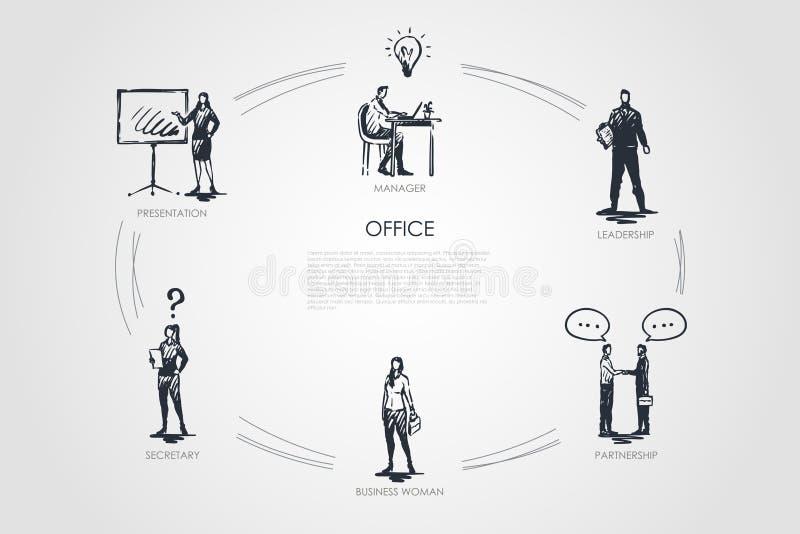 Büro - Manager, Darstellung, Sekretär, Geschäftsfrau, Führung, Partnerschaftskonzeptsatz stock abbildung