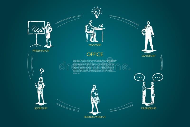 Büro - Manager, Darstellung, Sekretär, Geschäftsfrau, Führung, Partnerschaftskonzeptsatz lizenzfreie abbildung