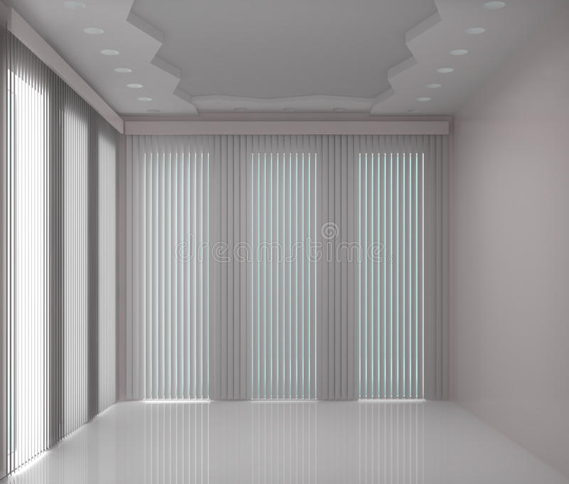 Büro mit großen Fenstern lizenzfreie abbildung