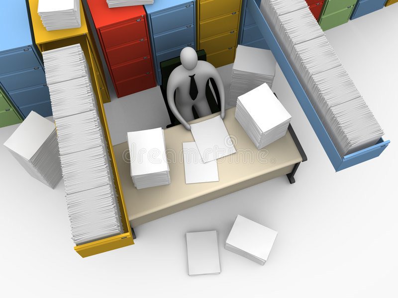 Büro-Momente - endlose Schreibarbeit lizenzfreie abbildung