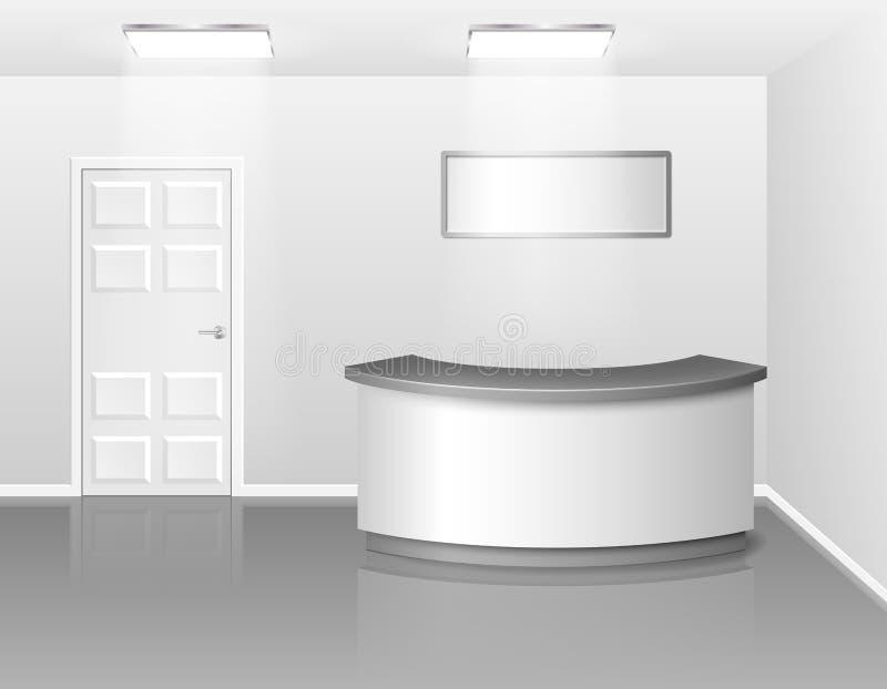 Büro- oder Hotelinnenraum mit Aufnahme- oder Ausstellungsgegenschreibtisch realistische Illustration des Vektor-3D Leeres Geschäf lizenzfreie abbildung