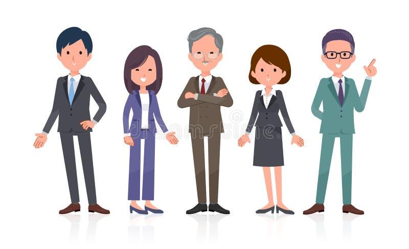 Büro scene_Business Team 5people Stand lizenzfreie abbildung