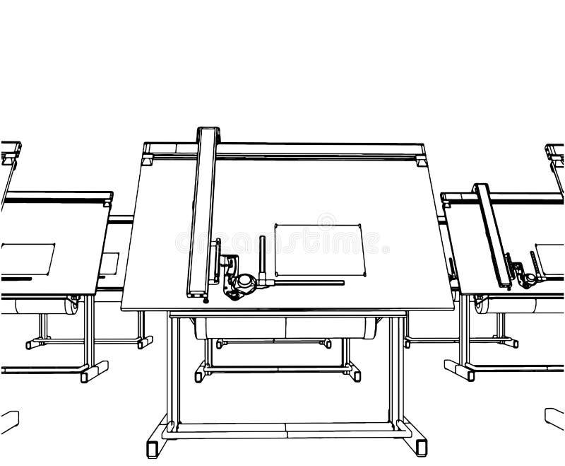 Büro-Schreibtische für Zeichnungs-Vektor 04 lizenzfreie abbildung