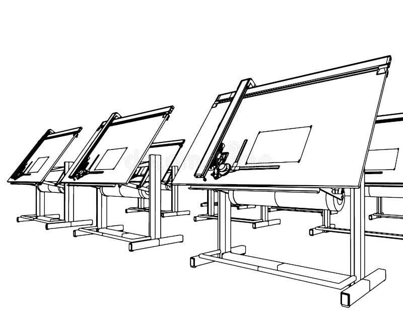 Büro-Schreibtische für Zeichnungs-Vektor 05 stock abbildung