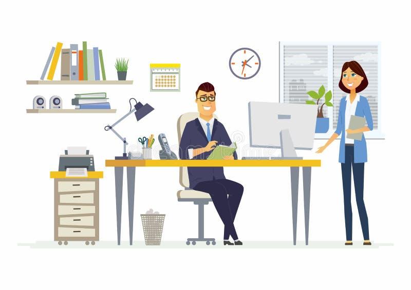 Büro-Sitzung - moderne Vektorkarikaturgeschäfts-Charakterillustration lizenzfreie abbildung