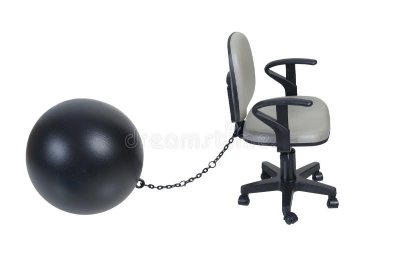Büro-Stuhl mit großem Klotz am Bein lizenzfreies stockfoto
