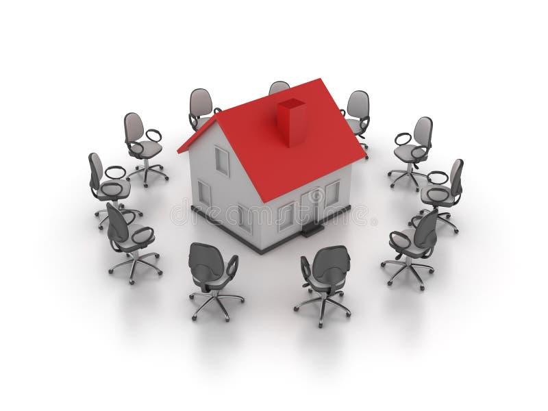 Büro-Stuhl mit Haus stock abbildung