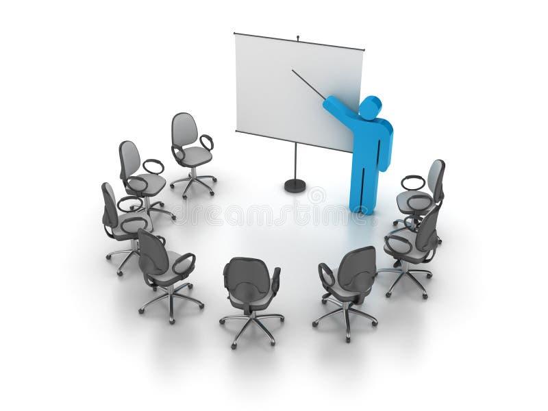 Büro-Stuhl mit Trainings-Person stock abbildung