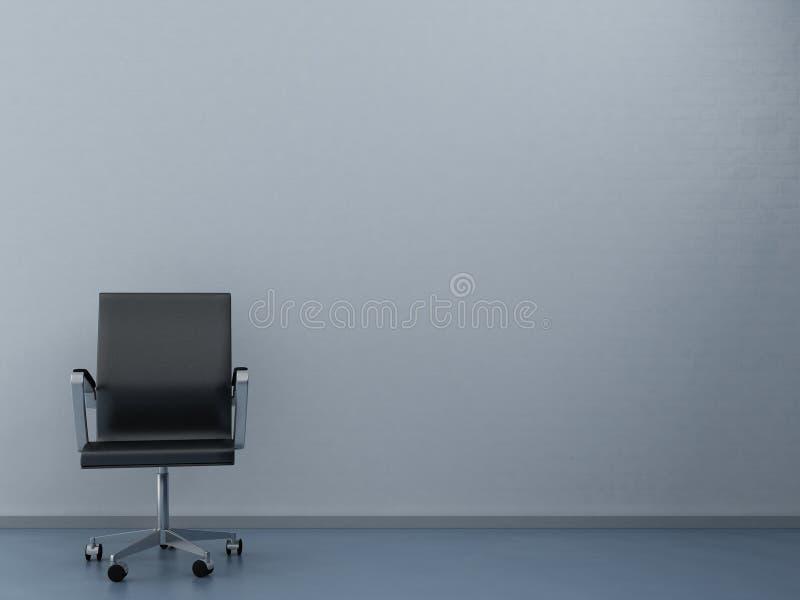 Büro-Stuhl, zum einer unbelegten Wand gegenüberzustellen stock abbildung