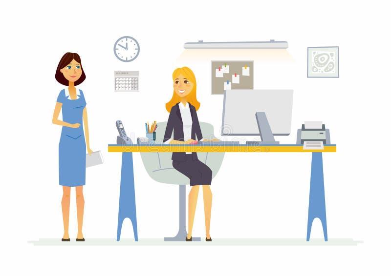 Büro-Szene - moderne Vektorkarikaturgeschäfts-Charakterillustration lizenzfreie abbildung