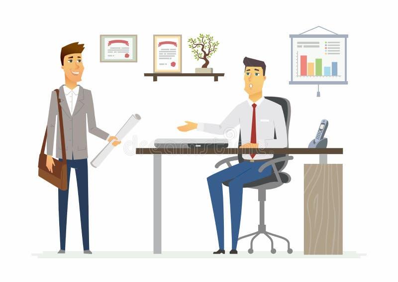 Büro-Tag - moderne Vektorkarikaturgeschäfts-Charakterillustration lizenzfreie abbildung