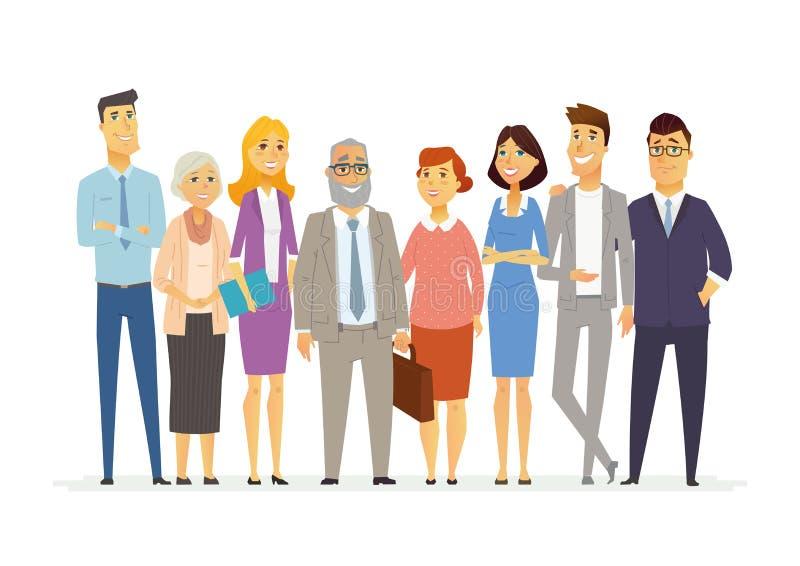 Büro-Team - moderne Vektorgeschäfts-Zeichentrickfilm-Figur-Illustration vektor abbildung