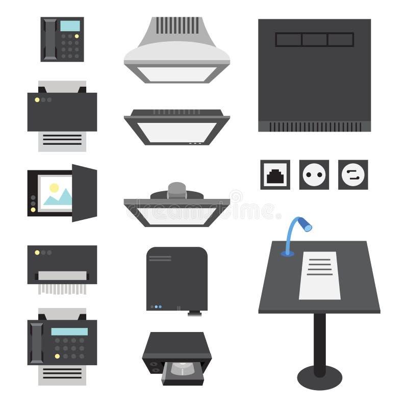 Büro-und Darstellungs-Ikonen stock abbildung