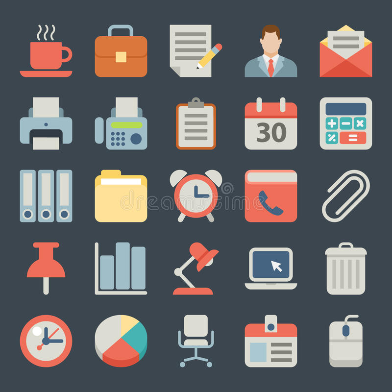 Büro und flache Ikonen des Geschäfts für Netz, beweglich lizenzfreie abbildung