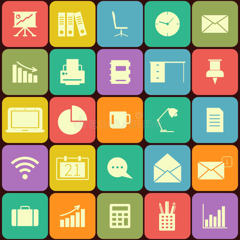 Büro und flache Ikonen des Geschäfts für Netz und Mobile stock abbildung