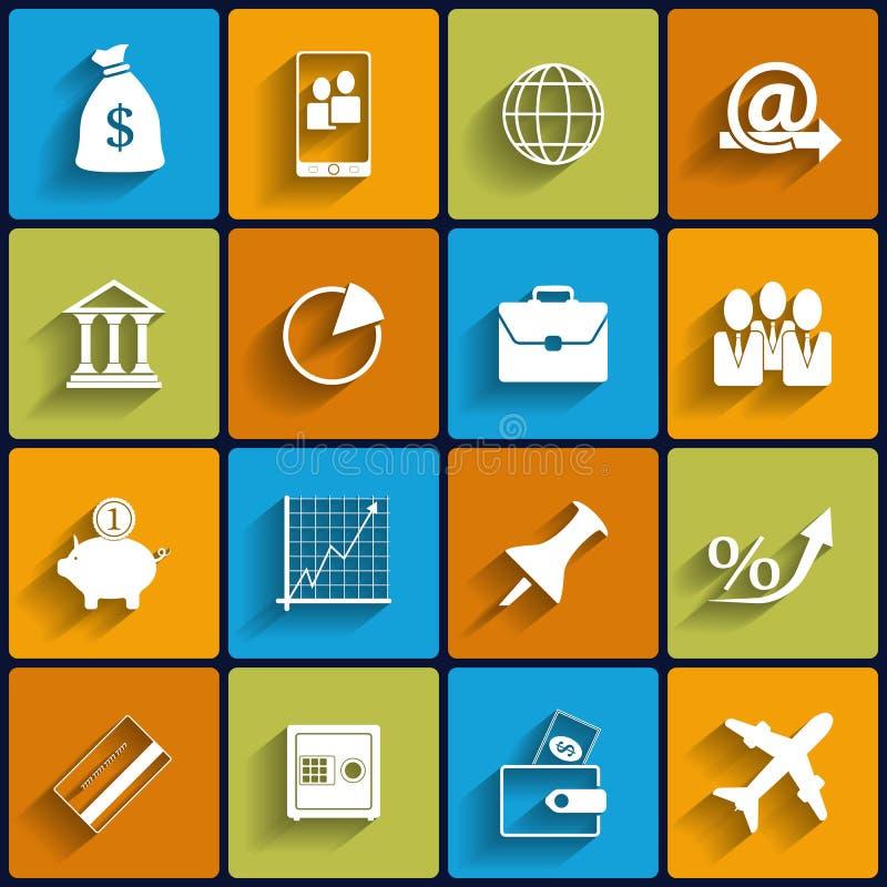 Büro und Geschäfts-Vektor-flache Ikonen lizenzfreie abbildung