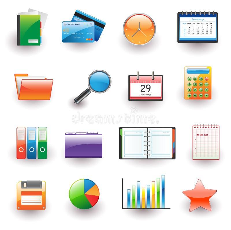 Büro und Geschäftsikonenset stock abbildung