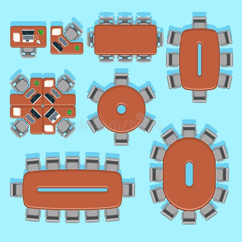 Büro und Konferenzgeschäft vector Möbelikonen in der flachen Art vektor abbildung