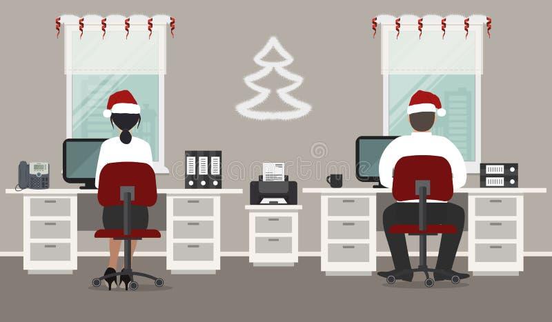 Büro, verziert mit Weihnachtsdekoration Büroangestellte in Sankt-Hüten an dem Arbeitsplatz lizenzfreie abbildung